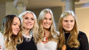 Vanessa Eriksson lucia 2014, Jannike Sandström vice ordförande på folkhälsan, Sonja Lehto lucia 2015 samt Ingrid Holm lucia 2016.