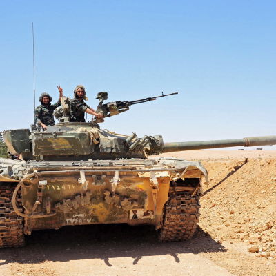 Den syriska arméns stridsvagn i prvinsen Homs den 12 juni 2017.