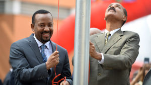 Eritreas president Isaias Afwerki och Etiopiens Abiy Ahmed.