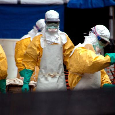 Sjukvårdspersonal på ett ebolacenter i Guineas huvudstad Conakry den 13 oktober 2014.
