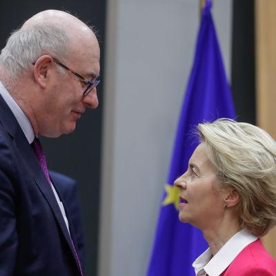 Phil Hogan ja Ursula von der Leyen kasvokkain