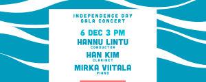 RSO:n itsenäisyyspäivän juhlakonsertin kuvitus, sinivalkoinen aaltoileva kuvitus