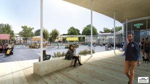 Uusi kaupunki-kollektiviets vision för Borgå torg.