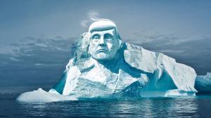 Ett isberg med USA:s presidents ansikte.