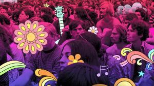 Kukkasgrafiikalla täytetty kuva Woodstockista.
