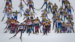 Masstart i Tour de Ski 2018.