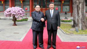Kim Jong Un och Xi Jinping 27.3.2018 i Peking