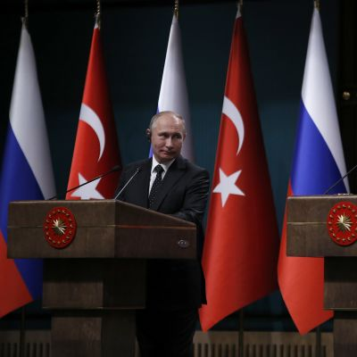 Rysslands och Turkiets presidenter Vladimir Putin och Recep Tayyip Erdoğan.