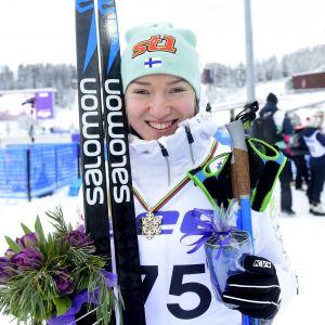 Anita Korva med bronset runt halsen.