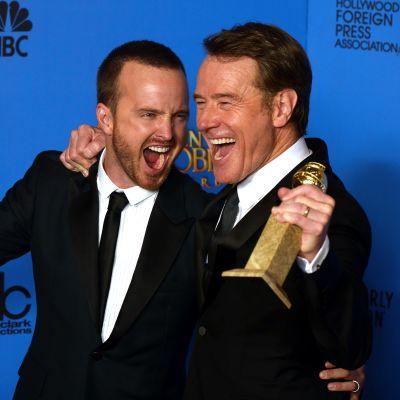 Aaron Paul ja Bryan Cranston pokkasivat Golden Globe -palkinnot 2014.