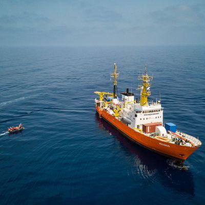 Räddningsfatyget Aquarius på Medelhavet.