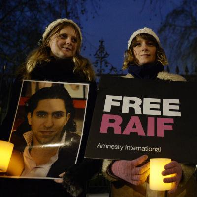 Demonstration för att lindra bloggaren Raif Badawis straff