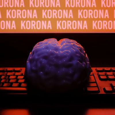 Aivot tietokoneruudun edessä, ruudulla toistuu sana korona.