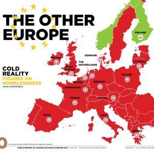 Karta över trender i bostadslösheten. Finland är det enda EU-landet där bostadslösheten minskar, också i Norge (utanför EU) minskar hemlösheten.