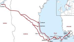 Karta över pilgrimsvandringsleden från Åbo till Trondheim.