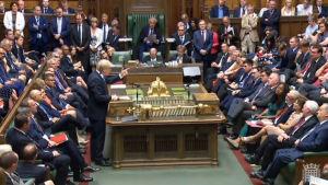 Premiärminister Boris Johnson håller sitt installationstal i underhuset 25.7.2019