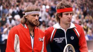 Björn Borg och John McEnroe i Wimbledon.