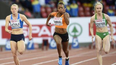 Hanna-Maari Latvala slutade sjua i EM-semifinalen på 100 meter.