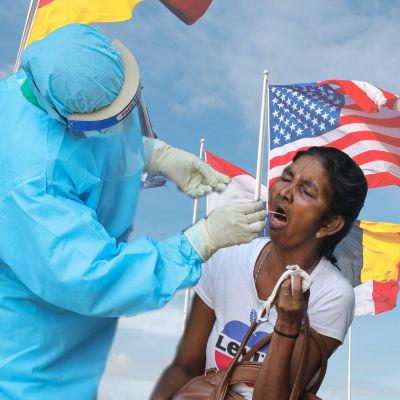 Bildmontage. I bakgrunden syns flaggor. Till vänster syns en person som testas för coronaviruset, till höger en person som håller upp ett coronavaccin.
