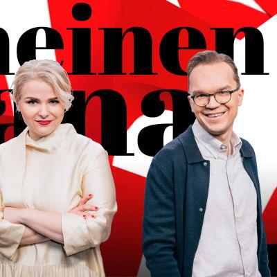 Viimeinen sana -ohjelman juontajat Heikki Valkama, Lena Nelskylä ja Ville Seuri.