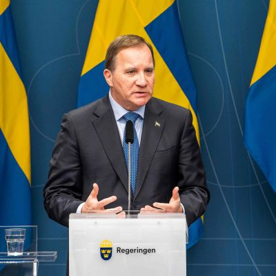 Ruotsin pääministeri Löfvenin lehdistötilaisuus