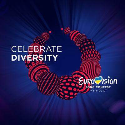 Eurovisionens logotyp är ett halsband i rött och svart