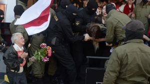 Belarusiska poliser griper kvinnor som deltar i en fredlig demonstration i Minsk 19.9.2020