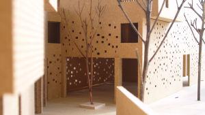 Ape oppimiskeskuksen pienoismalli, sisäänkäynti. Rakennus sijaitsee Kairossa, Egyptissä.