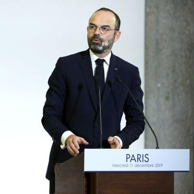 Frankrikes premiärminister Édouard Philippe presenterar en pensionsreform 11.12.2019
