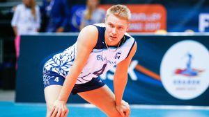 Lauri Kerminen är libero i Finlands herrlandslag i volleyboll.