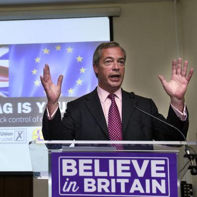 Självständighetspartiet UKIP:s ledare Nigel Farage har varit en av frontfigurerna för lämna-kampanjen.