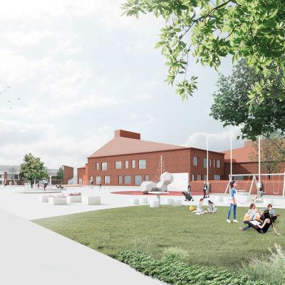 Piirros punatiilisestä koulurakennuksesta. Edessä nuoria keinumassa.