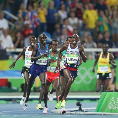 Mo Farah springer mot seger på 5000 meter, OS 2016.