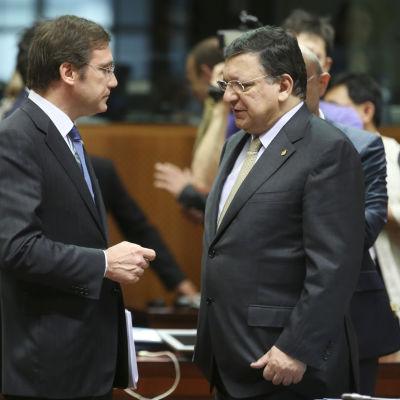 Portugals premiärminister Pedro Passos Coelho och kommissionens ordförade Jose Manuel Barroso.