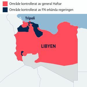 Karta över inbördeskriget i Libyen
