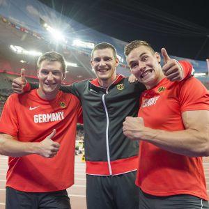Thomas Röhler, Andreas Hofmann och Johannes Vetter, VM 2015.