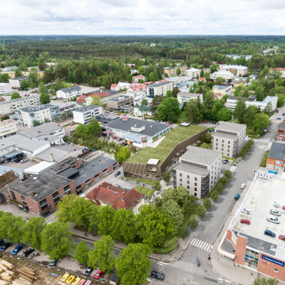 En visualisering av det nya kulturhuset i Karis stadsbild