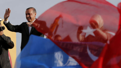 Turkiets premiärminister Recep Tayyip Erdogan på en valtillställning