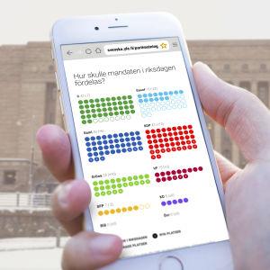 En hand håller i en mobilskärm framför riksdagshuset.
