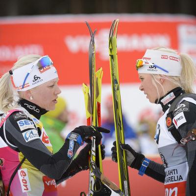Mari Laukkanen och Kaisa Mäkäräinen.