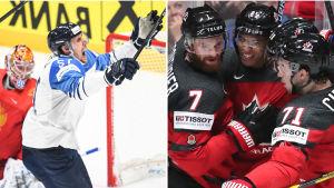Kollage av bilder på Marko Anttila och fyra kanadensiska spelare.