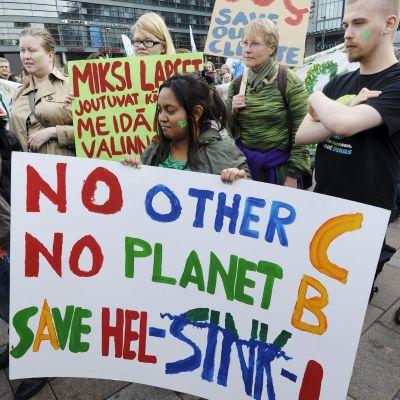March för klimatet i Helsingfors.