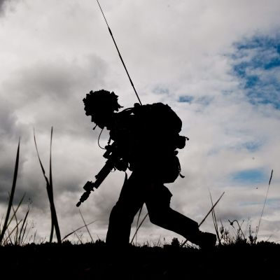 Brittisk soldat under övning i Baltikum i juni 2014.