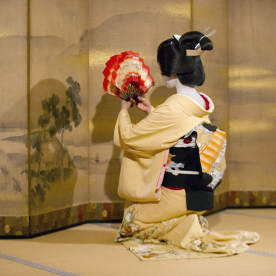 A Japanese geishas performing a  traditional dance at a temple in Kyoto, Japan, 20 October 2014.