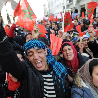 Upp till en miljon marockaner protesterade mot FN-chefen Ban Ki-moons uttalande om ockuperade Västsahara