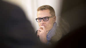 Statsminister Alexander Stubb på frågetimmen 12.10.2014.