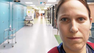 En kvinna står i en sjukhuskorridor.