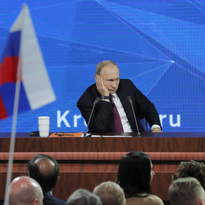 Rysslands president Vladimir Putin under sin årliga presskonferens som 2018 hölls den 20 december.