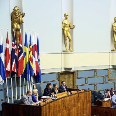 Erna Solberg talar i Finlands riksdag om nordiska relationer.