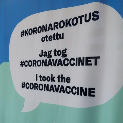 """Skylt med texten """"Jag tog coronavaccinet""""."""